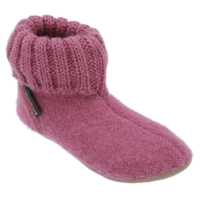 Sutsko i uld med rib, Haflinger - pink