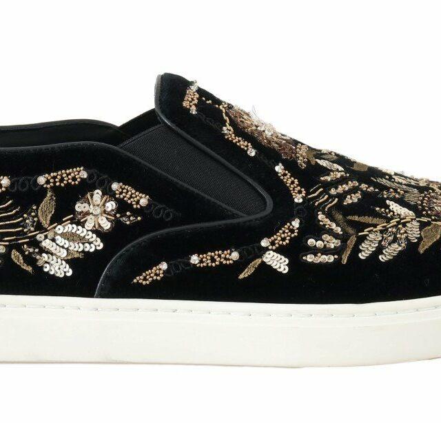 Black Velvet Gold Sequined Loafers