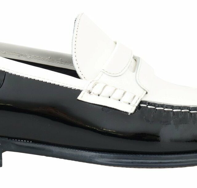 Black White Leather Loafers