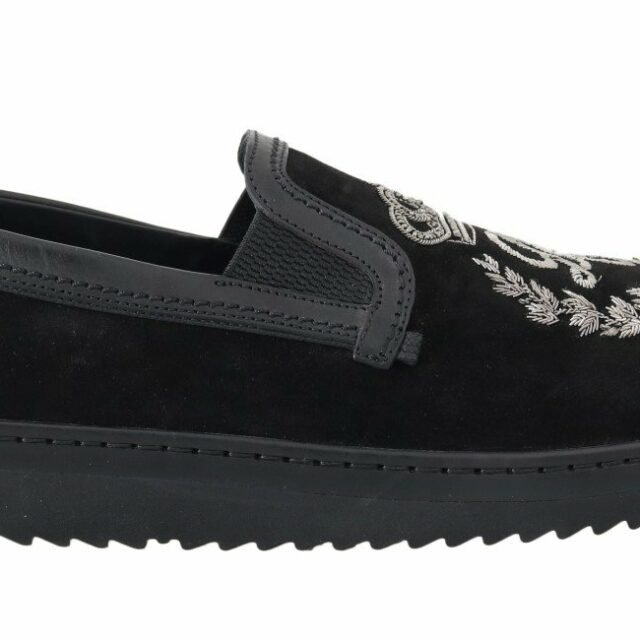 Black Leather Crown Embroidery Loafers
