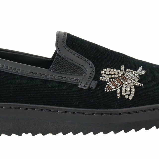 Black Crystal Bee Leather Loafers