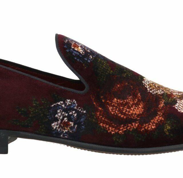Bordeaux Floral Print Velvet Loafers