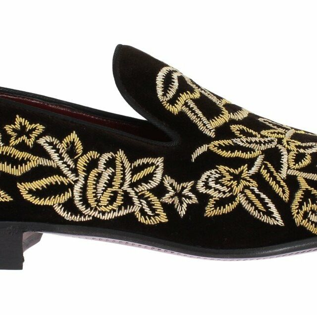 Brown Velvet Gold Embroidery Loafers