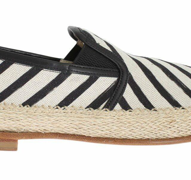 Black White Linen Loafers