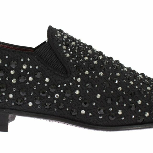 Black Brocade Crystal Strass Loafers