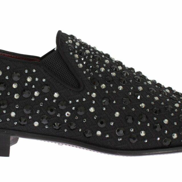 Black Brocade Crystal Strass Loafers