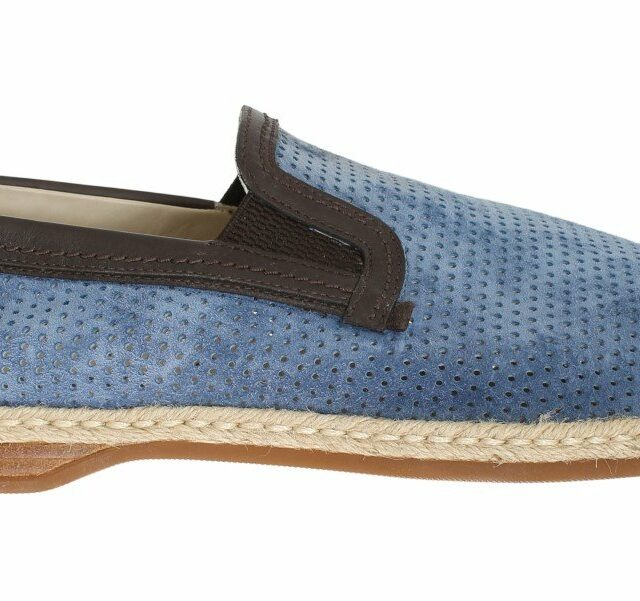Blue Leather Breathable Holes Loafers