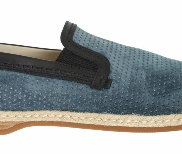 Blue Black Leather Breathable Loafers