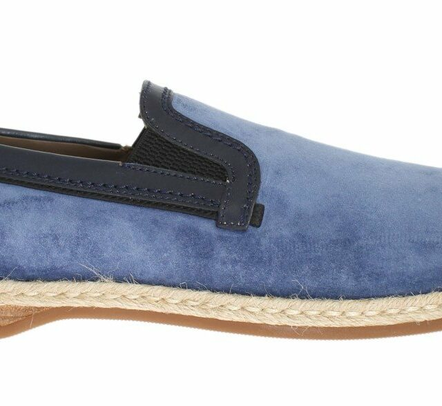 Blue Suede Leather Logo Loafers