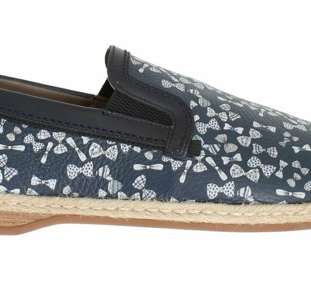 Blue Leather Bowtie Pattern Loafers