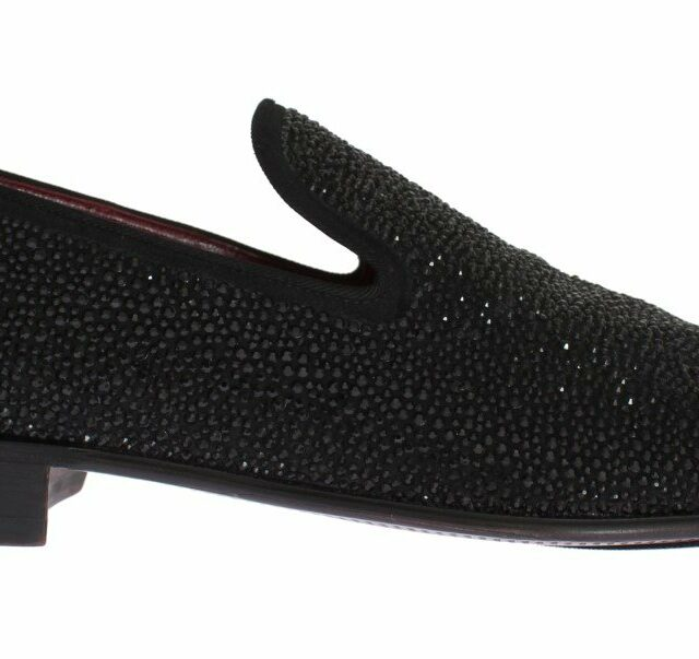 Black Suede Leather Crystal Loafers