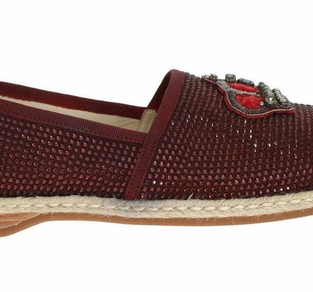 Red Canvas Swarovski Strass Loafers