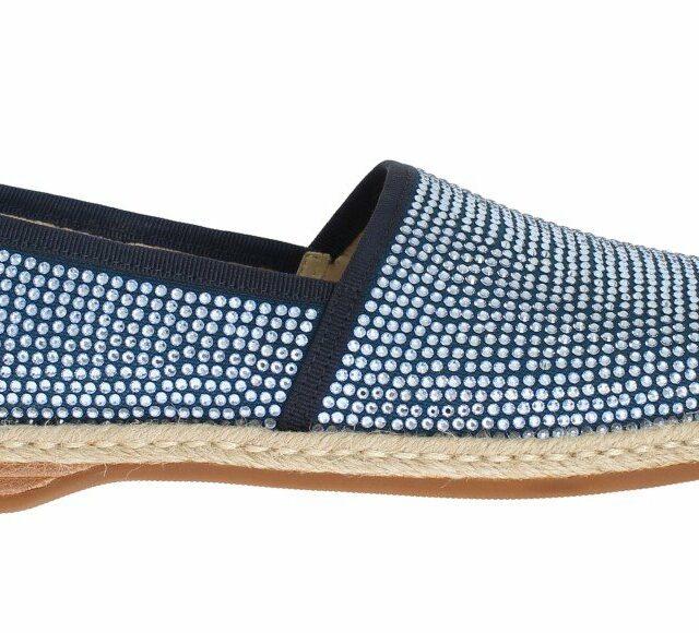 Blue Canvas Swarovski Strass Loafers