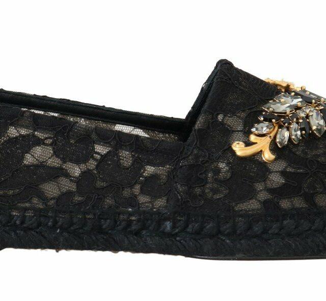 Black Crystal Espadrilles Shoes