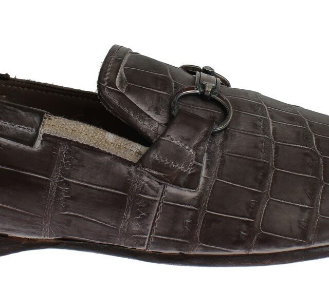 Brown Crocodile Loafers Dress Formal Shoes