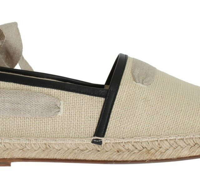 Beige Leather Canvas Strap Loafers