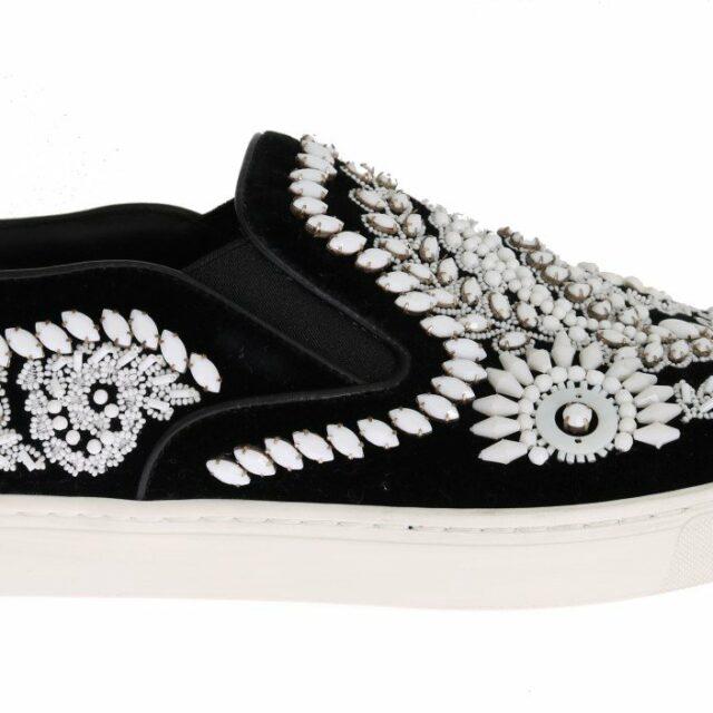 Black Velvet White Crystal Loafers