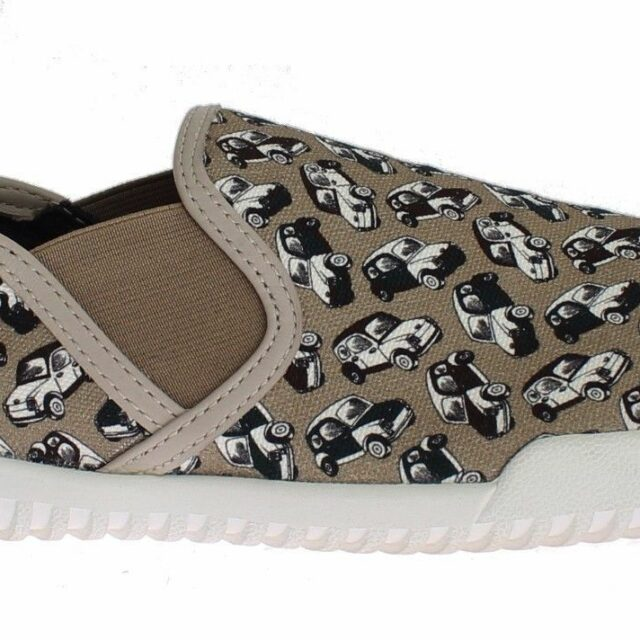 Beige Denim Car Print Loafers Sneakers Shoes