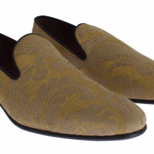 Yellow Gold Silk Baroque Loafers Shoes