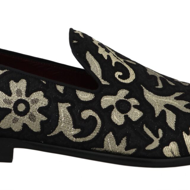 Black Gold Jacquard Loafers Dress Shoes