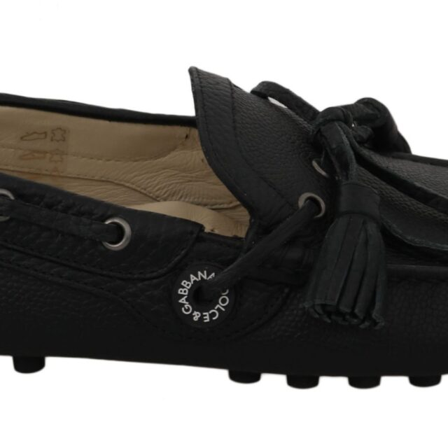 Black Leather Flat Loafers Moccasin Shoes