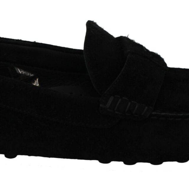 Black Suede Flat Loafers Slip Ons Shoes