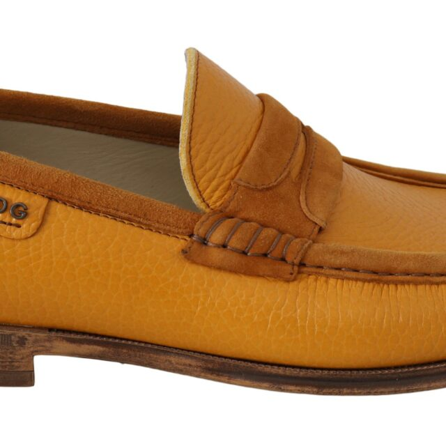 Yellow Leather Moccasins Dress Loafers Shoes